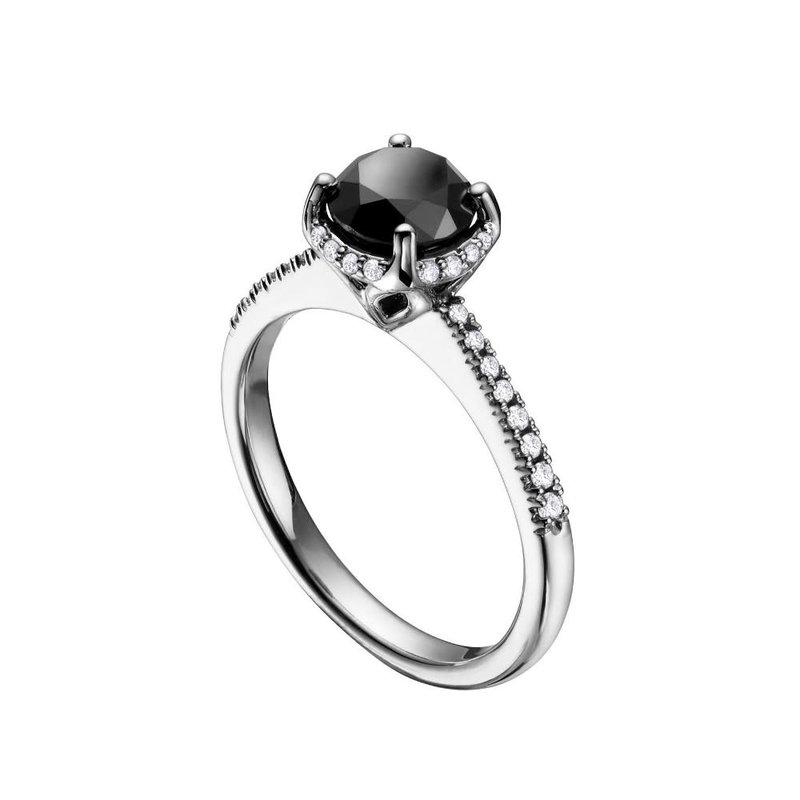 14K White Gold Black Diamond Halo Engagement Ring (1.50ct)
