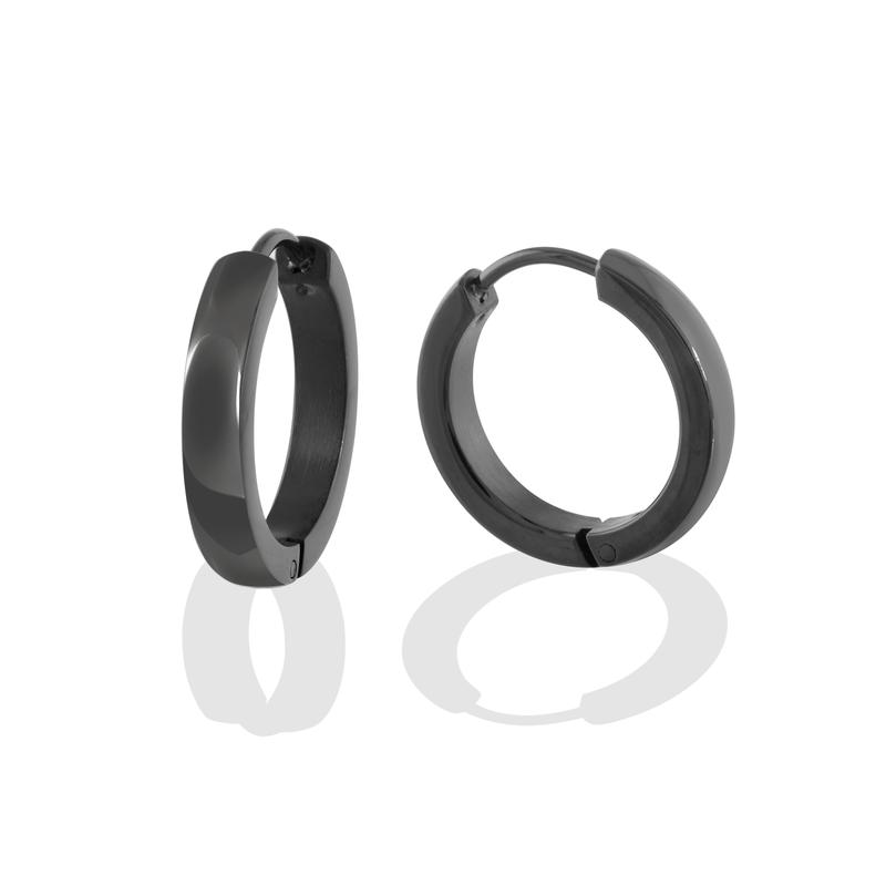 Stainless Steel Black Tone Huggie Earrings Polished