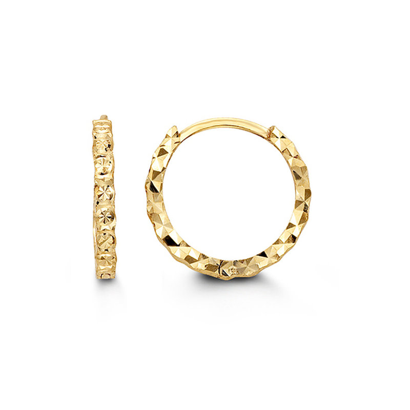 10K Yellow Gold Diamond Cut Huggie Earrings