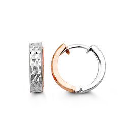 10K Rose and White Gold Huggie Earrings