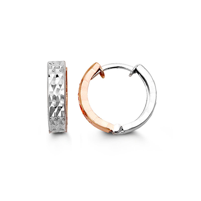 10K Rose and White Gold Huggie Earrings