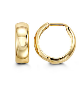 10K Yellow Gold (15mm) Huggie Hoop Earrings