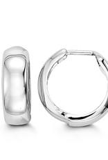 10K White Gold (15mm) Huggie Hoop Earrings
