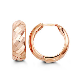 10K Rose Gold (15mm) Diamond Cut Hoop Earrings