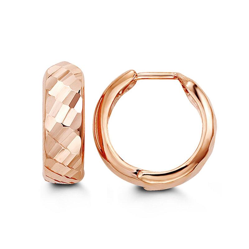 10K Rose Gold (15mm) Diamond Cut Hoop Earrings