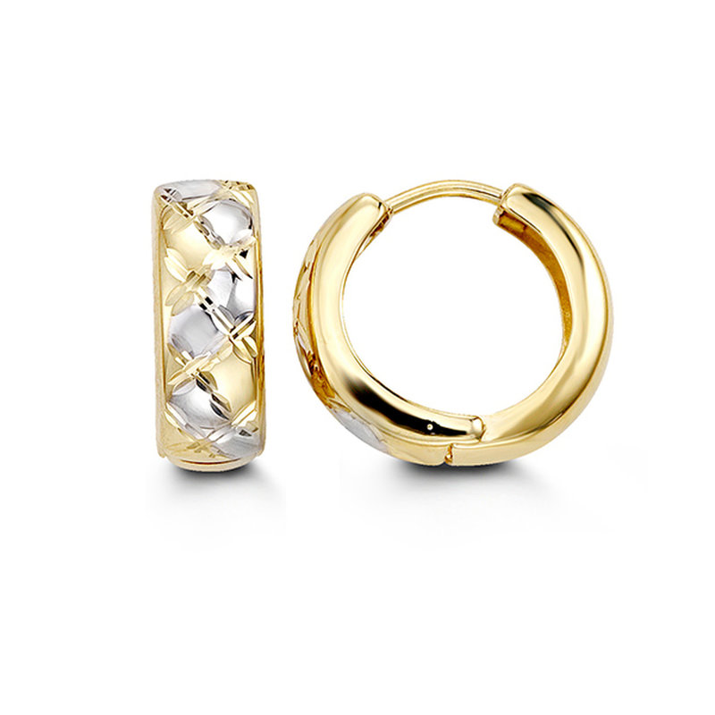 10K Yellow and White Gold (12mm) Huggie Hoop Earrings