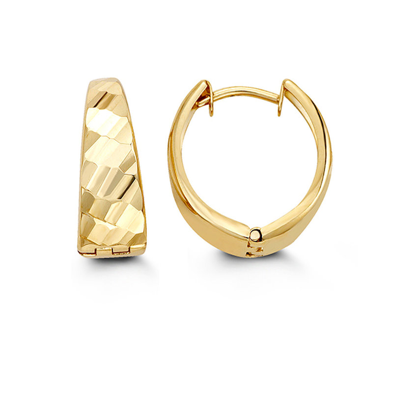 10K Yellow Gold (13mm) Diamond Cut Huggie Earrings