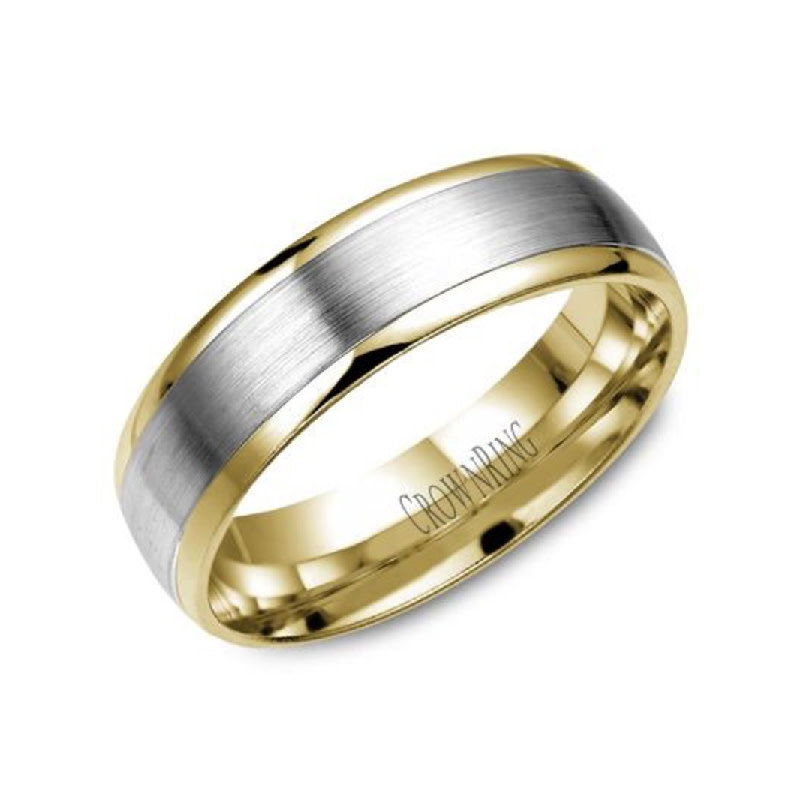 Crown Ring Yellow and White Gold (6mm) Wedding Band (10K, 14K)