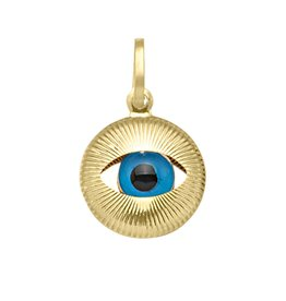 Yellow Gold Small Evil Eye Pendant (10K,14K, 18K)