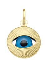 Yellow Gold Large Evil Eye Pendant (14K, 18K)