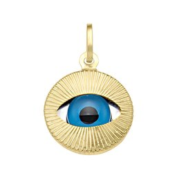 Yellow Gold Large Evil Eye Pendant (14K, 18K)