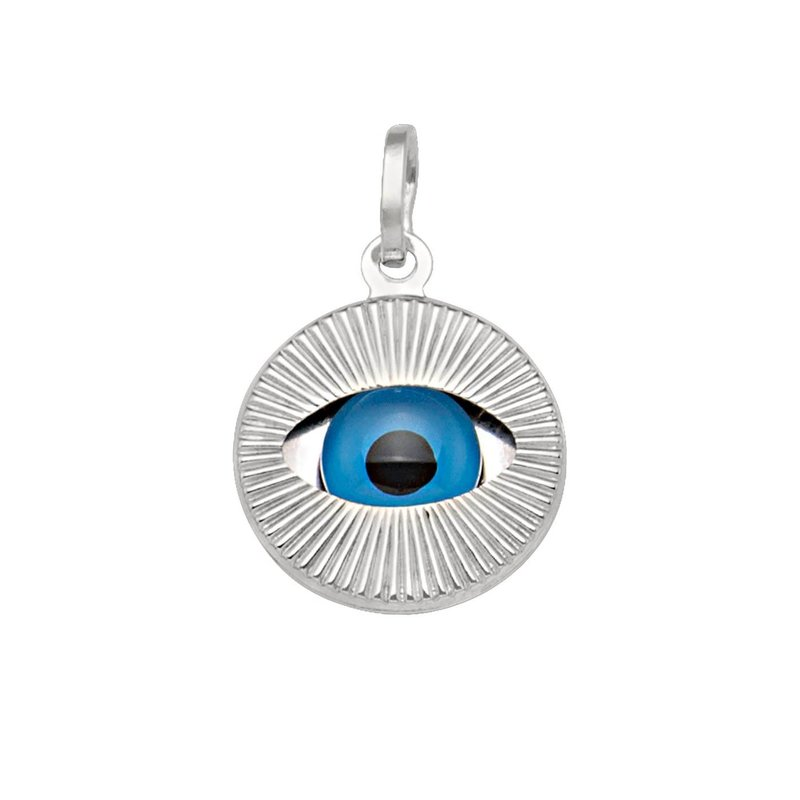 White Gold Large Evil Eye Pendant (14K, 18K)