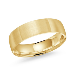 Yellow Gold 6mm Mens Brushed Wedding Band