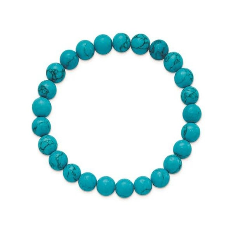 Blue Turquoise Agate (8mm) Beaded Stretch Bracelet