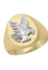 10K Yellow and White Gold Mens Eagle Ring