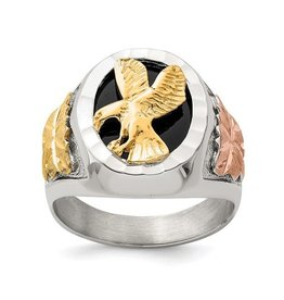 Sterling Silver and 12K Antiqued Eagle Men's Ring