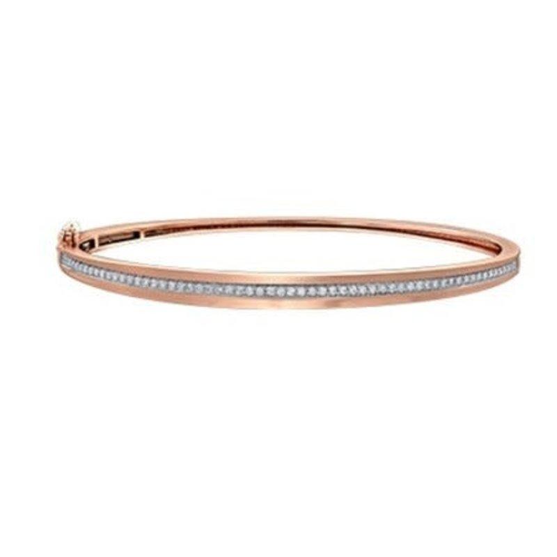 10K Rose Gold (0.36ct) Pavee Set Diamond Bangle Bracelet