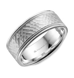 Crown Ring White Gold (7mm) Hammered Centre Band (10K, 14K, 18K)