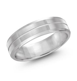 Malo White Gold (6mm) Brushed Centre Band (10K, 14K, 18K)