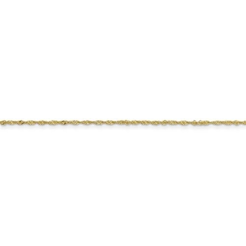 "10K Yellow Gold (1.1mm) Singapore Ankle Bracelet 9"""
