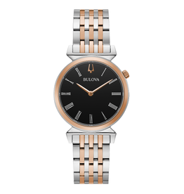 Bulova Bulova Classic Ladies Two Tone with Roman Numeral Black Dial Watch