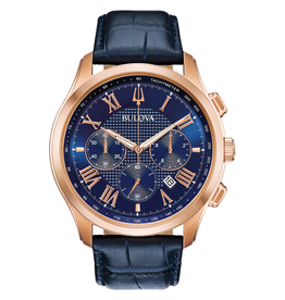 Bulova Bulova Classic Mens Chronograph Rose Tone Blue Dial and Blue Leather Strap Watch