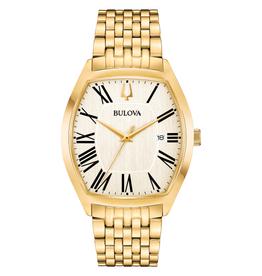Bulova Bulova Classic Mens Gold Tone Roman Numeral Dial Watch