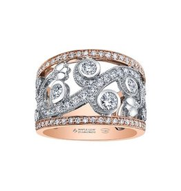 Maple Leaf Diamonds 14K Rose and White Gold Shelly Purdy (1.46ct) Maple Leaf Canadian Diamond Floral Wide Band Ring