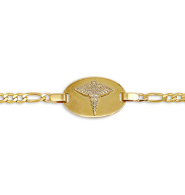 10K Yellow Gold Medical ID Ladies (3mm) Figaro Link Bracelet