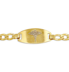 10K Yellow Gold Medical ID Mens (5mm) Curb Link Bracelet
