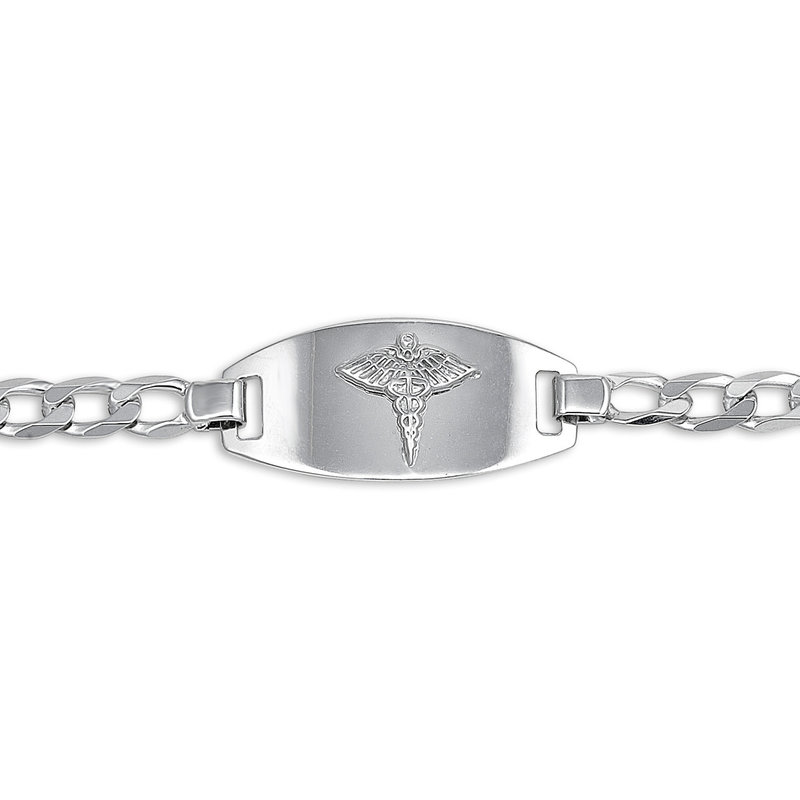 10K White Gold Medical ID Mens (5mm) Figaro Link Bracelet