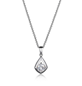 Elle Elle Promise Sterling Silver Rodium Plated CZ Solitaire Necklace