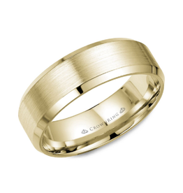 Crown Ring 10K Yellow Gold Brushed (7mm) Mens Band