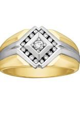 10K Yellow and White Gold Mens Diamond Ring