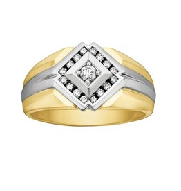 10K Yellow and White Gold Mens (0.30ct) Diamond Ring