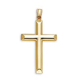 10K Yellow Gold Hollow Plain Cross Pendant