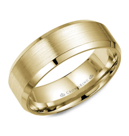 Crown Ring Yellow Gold (8mm) Brushed Band (10K, 14K,18K)