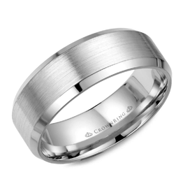 Crown Ring White Gold (8mm) Brushed Band (10K, 14K,18K)