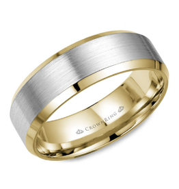 Crown Ring Yellow and White Gold (8mm) Brushed Band (10K, 14K,18K)