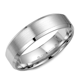 Crown Ring White Gold (6mm) Brushed Band (10K, 14K,18K)