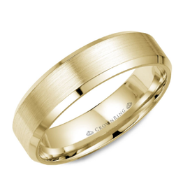 Crown Ring Yellow Gold (6mm) Brushed Band (10K, 14K,18K)