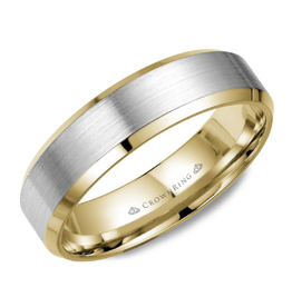 Crown Ring Yellow and White Gold (6mm) Brushed Band (10K, 14K,18K)