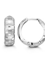 10K White Gold (15mm) Diamond Cut Huggie Earrings