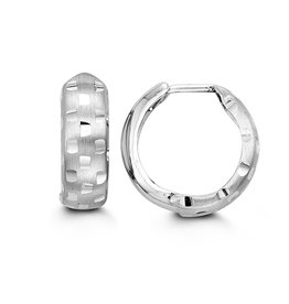 10K White Gold (15mm) Diamond Cut Huggie Earrings