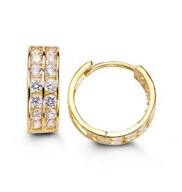 14K Yellow Gold (13mm) Two Row CZ Huggie Earrings