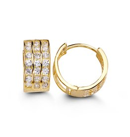 14K Yellow Gold (20mm) Three Row CZ Huggie Earrings