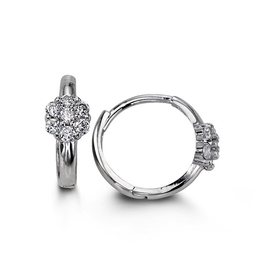 14K White Gold Cluster CZ Huggie Earrings
