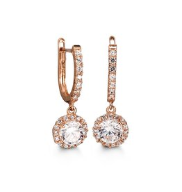 10K Rose Gold Cubic Zirconia Dangle Earrings
