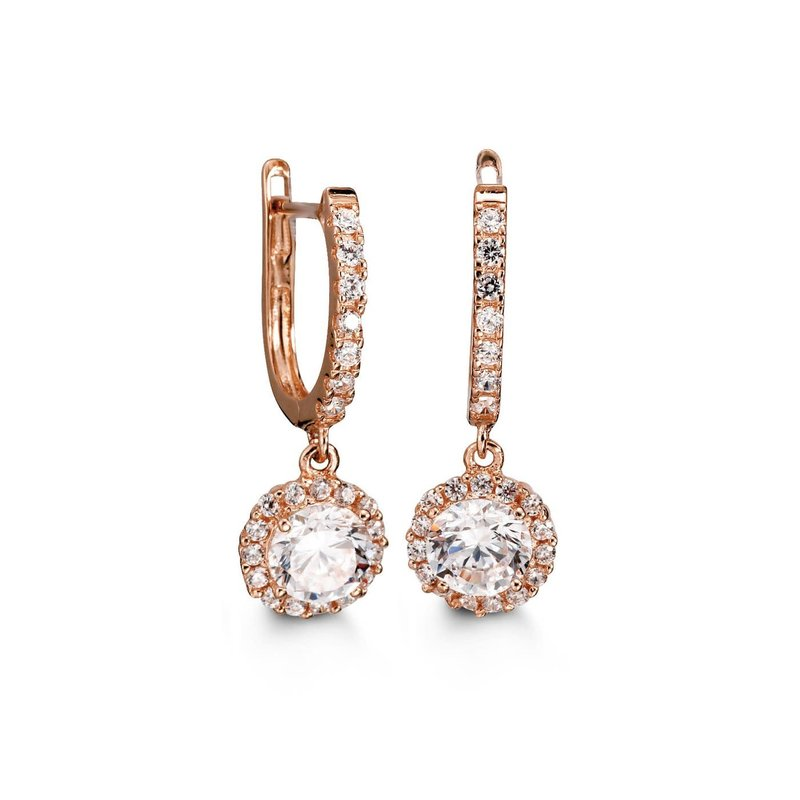 Rose Gold Cubic Zirconia Dangle Earrings