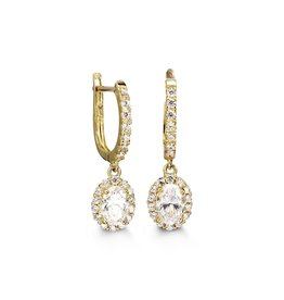 10K Yellow Gold Halo Dangle Oval CZ Earrings